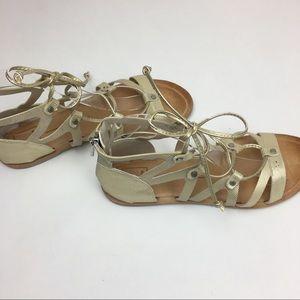 Dolce vita gold lace up sandals sz 8. EUC